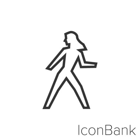 Icon woman walking in black and white Illustration.