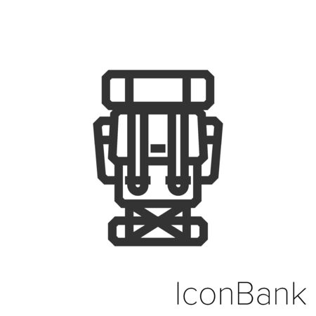 Icon backpacking in black and white Illustration.