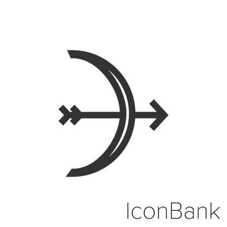 Bow and arrow icon in black and white Illustration. Ilustração