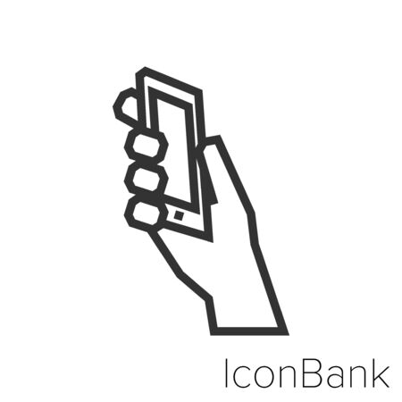 Hand grabbing smart phone icon in black and white Illustration.