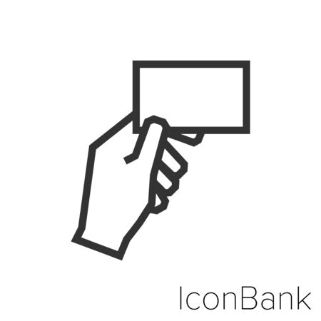 Hand icon with business card in black and white Illustration.