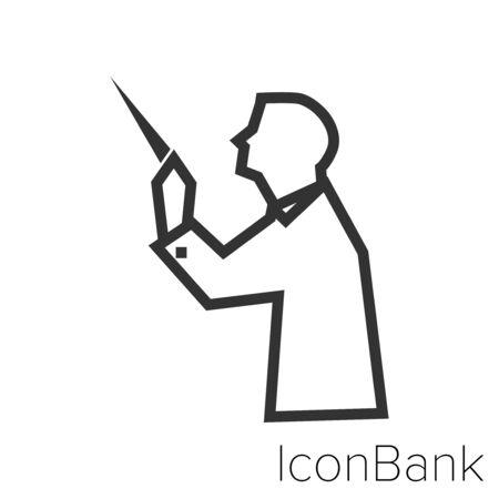 Icon orchestra director in black and white Illustration. Vettoriali