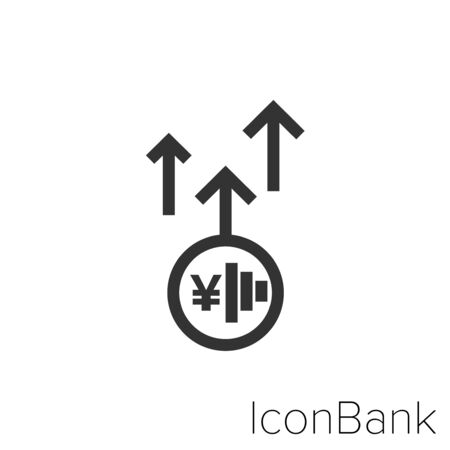 Icon Yen went up in black and white Illustration.