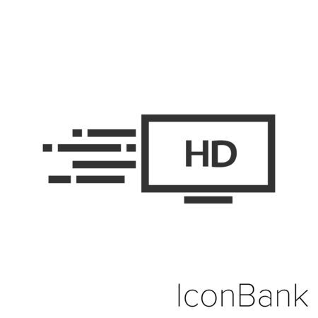 Icon ultra fast streaming HD in black and white Illustration.