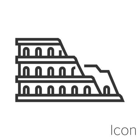 Symbol Römisches Kolosseum in Schwarz-Weiß-Illustration.