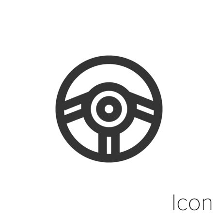Icon steering wheel in black and white Illustration.