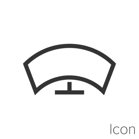 Icon curved tv in black and white Illustration.