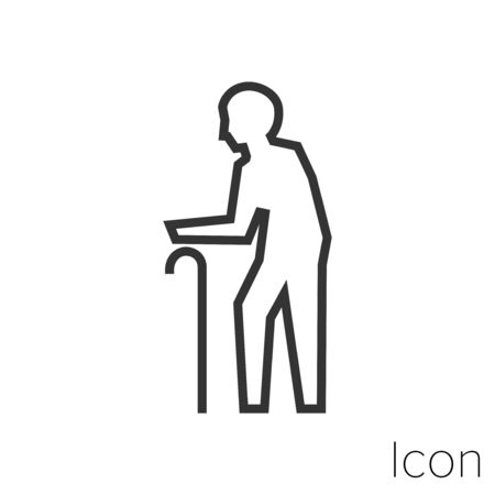 Icon old man in black and white Illustration. Çizim