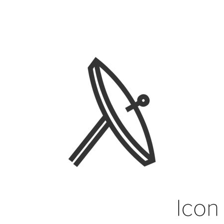 Icon satellite antenna in black and white Illustration. Çizim