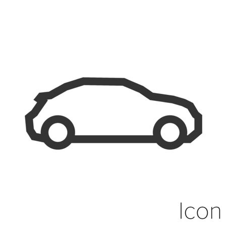 Icon modern scarab car in black and white Illustration. Stock Illustratie