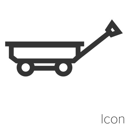 Icon toy wagon in black and white Illustration.