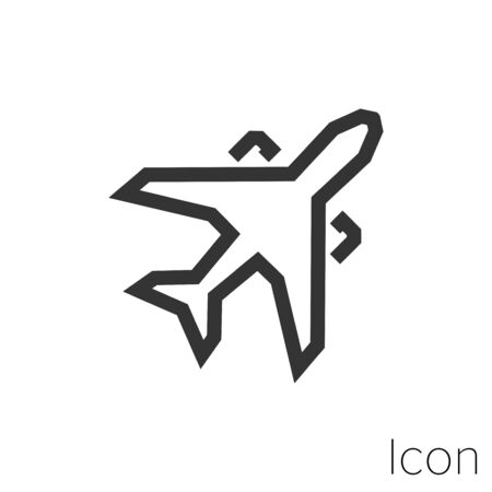 Icon airplane taking off in black and white Illustration. Çizim
