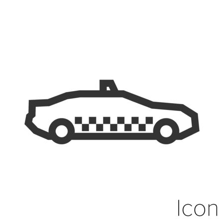Icon cab in black and white Illustration.