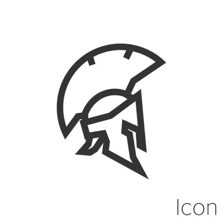 Icon Greek helmet in profile in black and white Illustration. Çizim