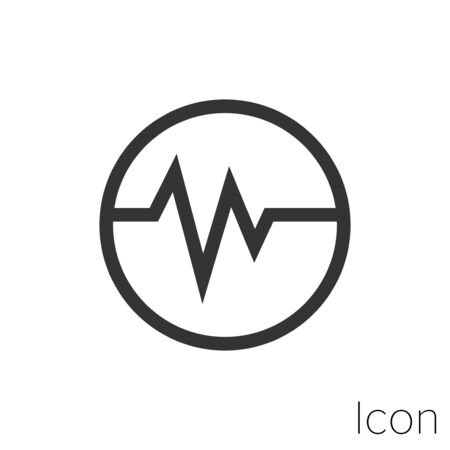 Icon electrocardiogram in black and white Illustration. Çizim