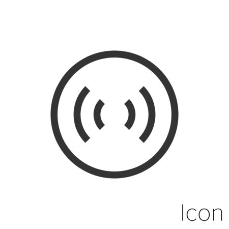 Icon signal waves in black and white Illustration.