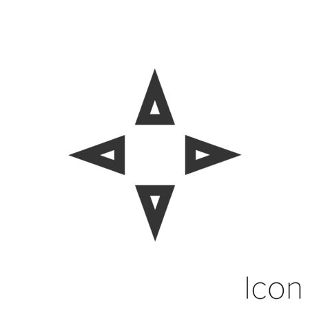 Icon arrow in cardinal points in black and white Illustration.