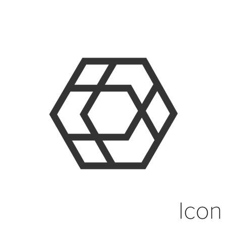 Icon box in black and white Illustration. Çizim