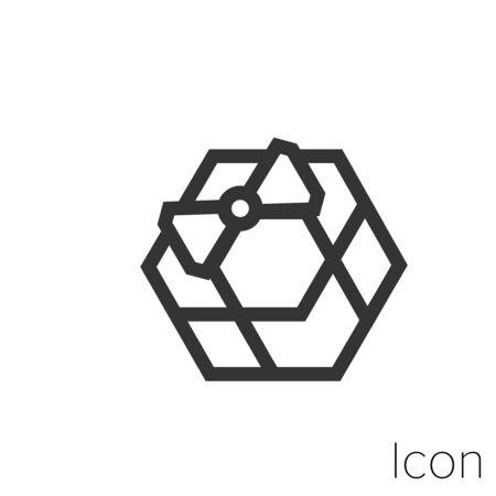 Icon gift box in black and white Illustration. Çizim