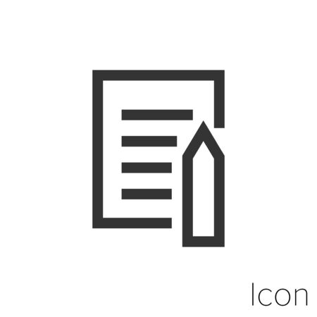 Icon pencil note in black and white Illustration.