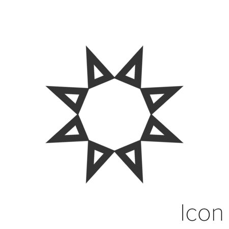 Icon Sun in black and white Illustration.