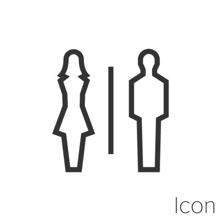 Icon bathrooms in black and white Illustration.