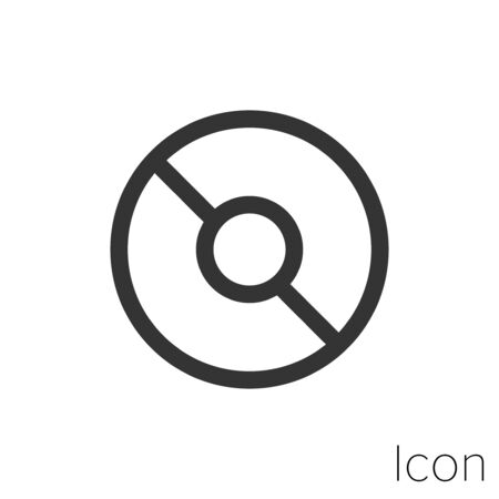 Icon concentric circle in black and white Illustration.