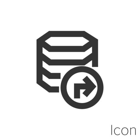 Icon data migration in black and white Illustration.