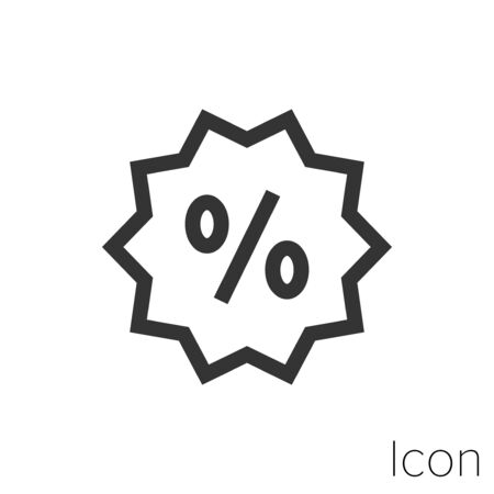 Icon discount promotion in black and white Illustration. Çizim