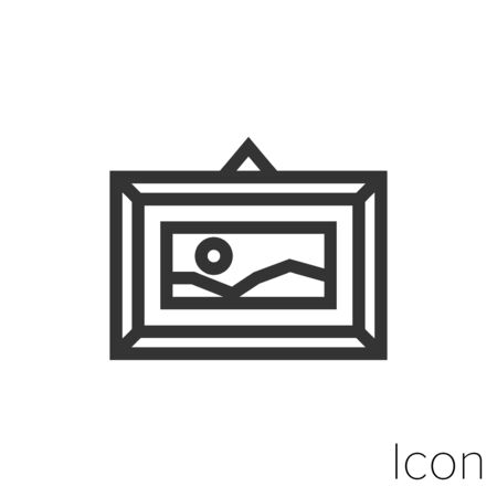 Icon framed picture in black and white Illustration.