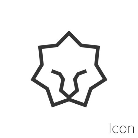 Icon lion face in black and white Illustration.
