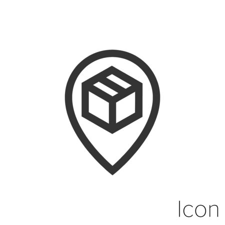 Icon package location in black and white Illustration. Illusztráció