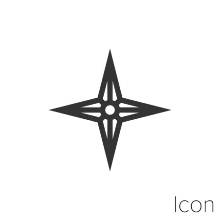 Icon star compass in black and white Illustration. Çizim