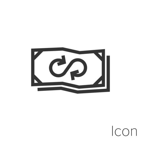 infinite transactions icon outline in vector.