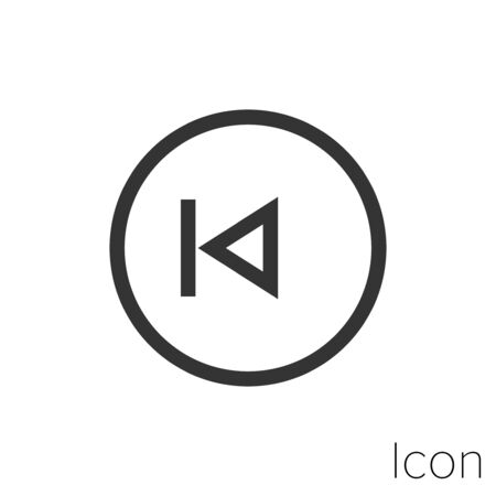 play previous icon outline in vector.
