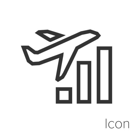 corporate plane trip icon outline in vector.