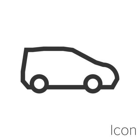 small car icon outline in vector.