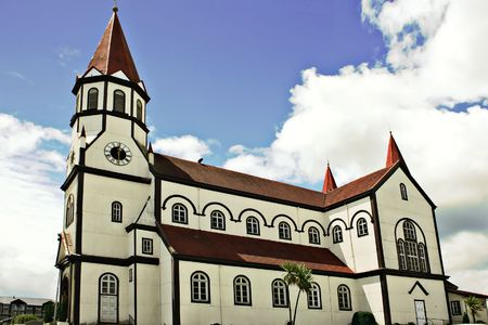 white church in the city of Puerto Varas in Chile photo