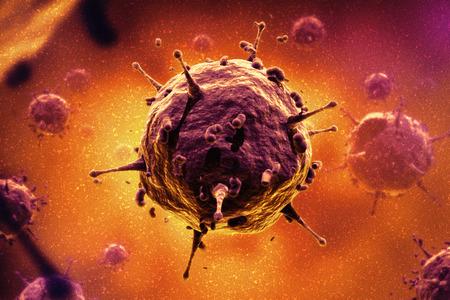 virus cell: Bacteria, virus, cell 3d