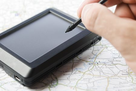 stylus pen: GPS global positioning device with hand holding stylus pen