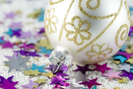 Christmas tree ball with colorful shiny stars photo