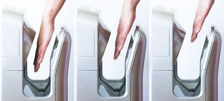 blow dryer: Three images showing hands slowly withdrawing from modern hand dryer
