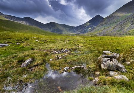 Mountain landscape shot during rainy weather. Macgillycuddys Reeks, Iveragh Peninsula, Ireland