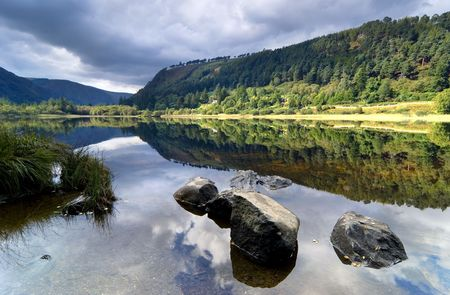 Upper Lake in Glendalough Scenic Park, Ireland Stok Fotoğraf
