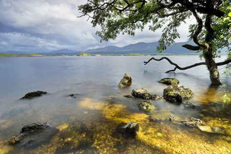 Lough Leane Lake weergave uit Ross eiland. Killarney nationaal park, County Kerry, Ierland