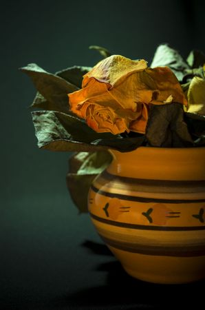 dried flower arrangement: Dried rose bouquet arranged in an old style vase. Stock Photo