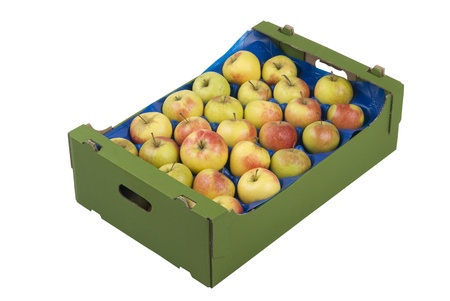 Box of fresh apples isolated on white background Foto de archivo