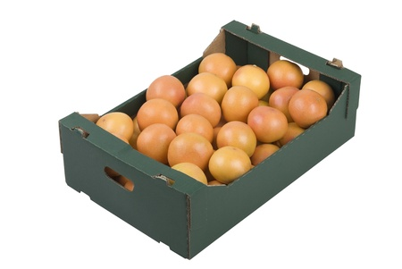 Box of fresh grapefruits isolated on white background Stock Photo - 8383224