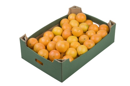 Box of fresh oranges isolated on white background Reklamní fotografie