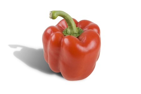 fruit market: One fresh red pepper isolated on white background Stock Photo